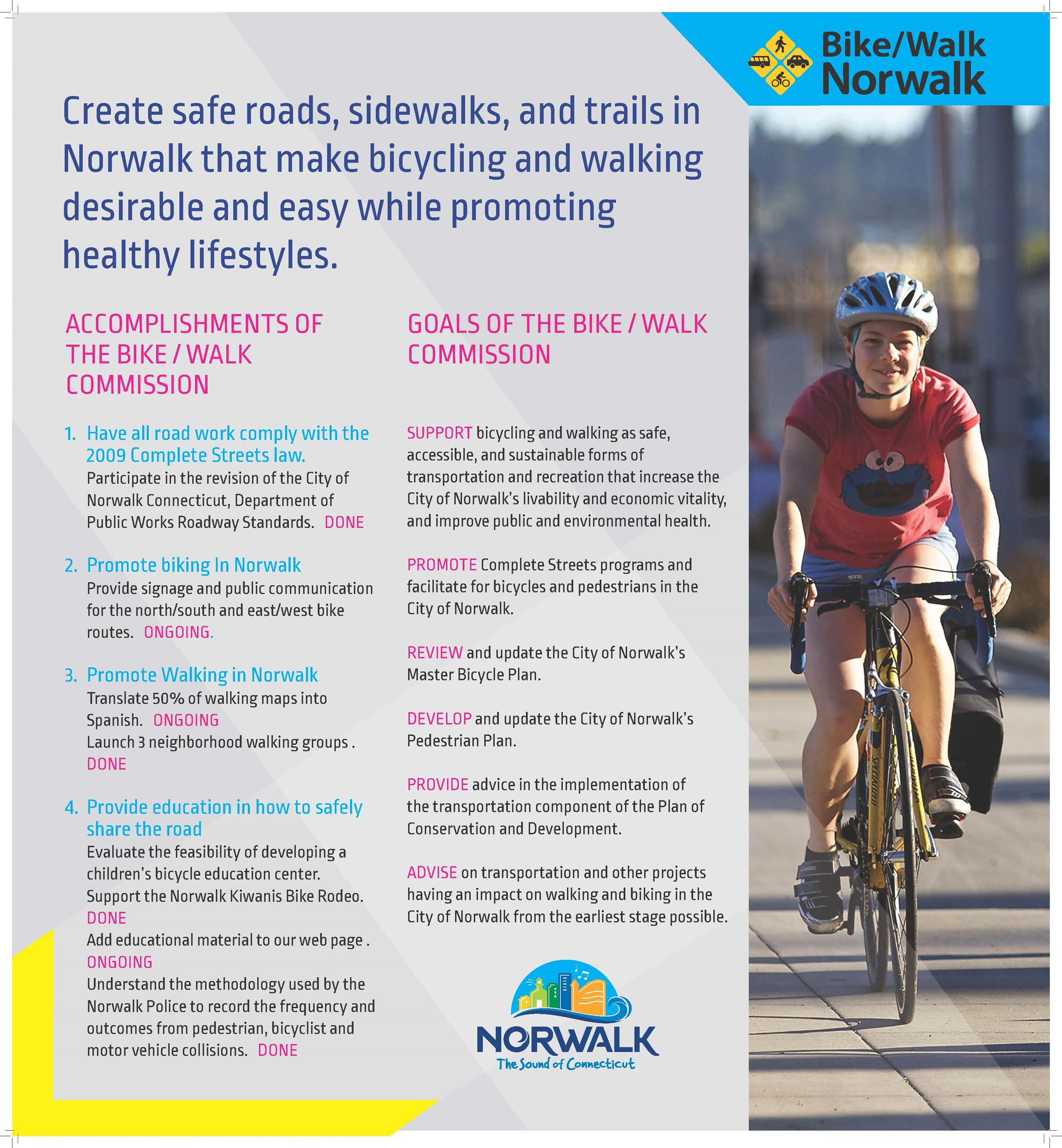 Norwalk Bike/Walk Commission - Accomplishments