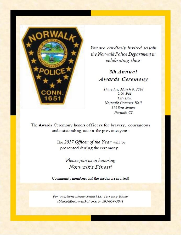 2018 Police Awards Invitation