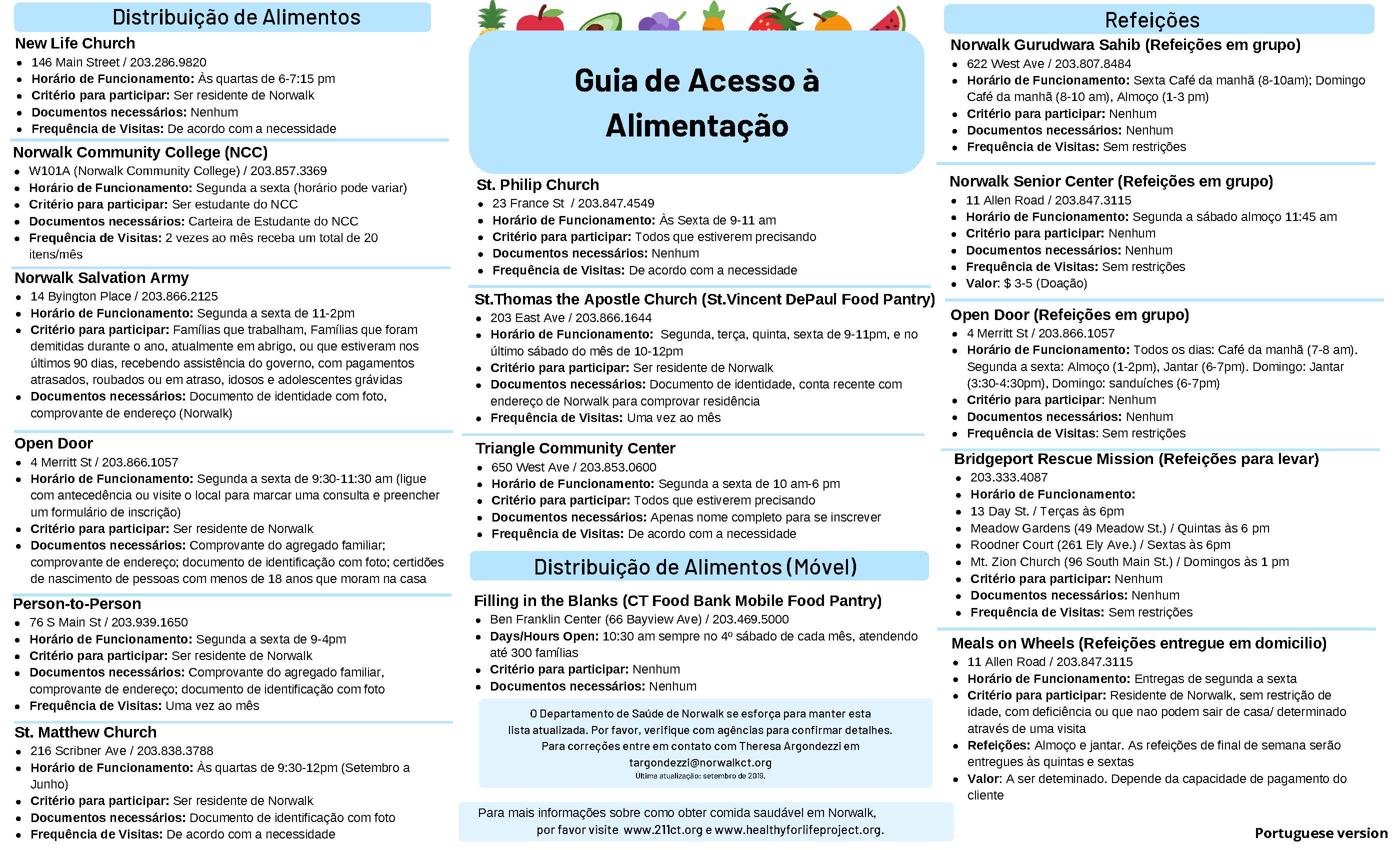 A Guide to Accessing Food in Norwalk  (Portuguese)