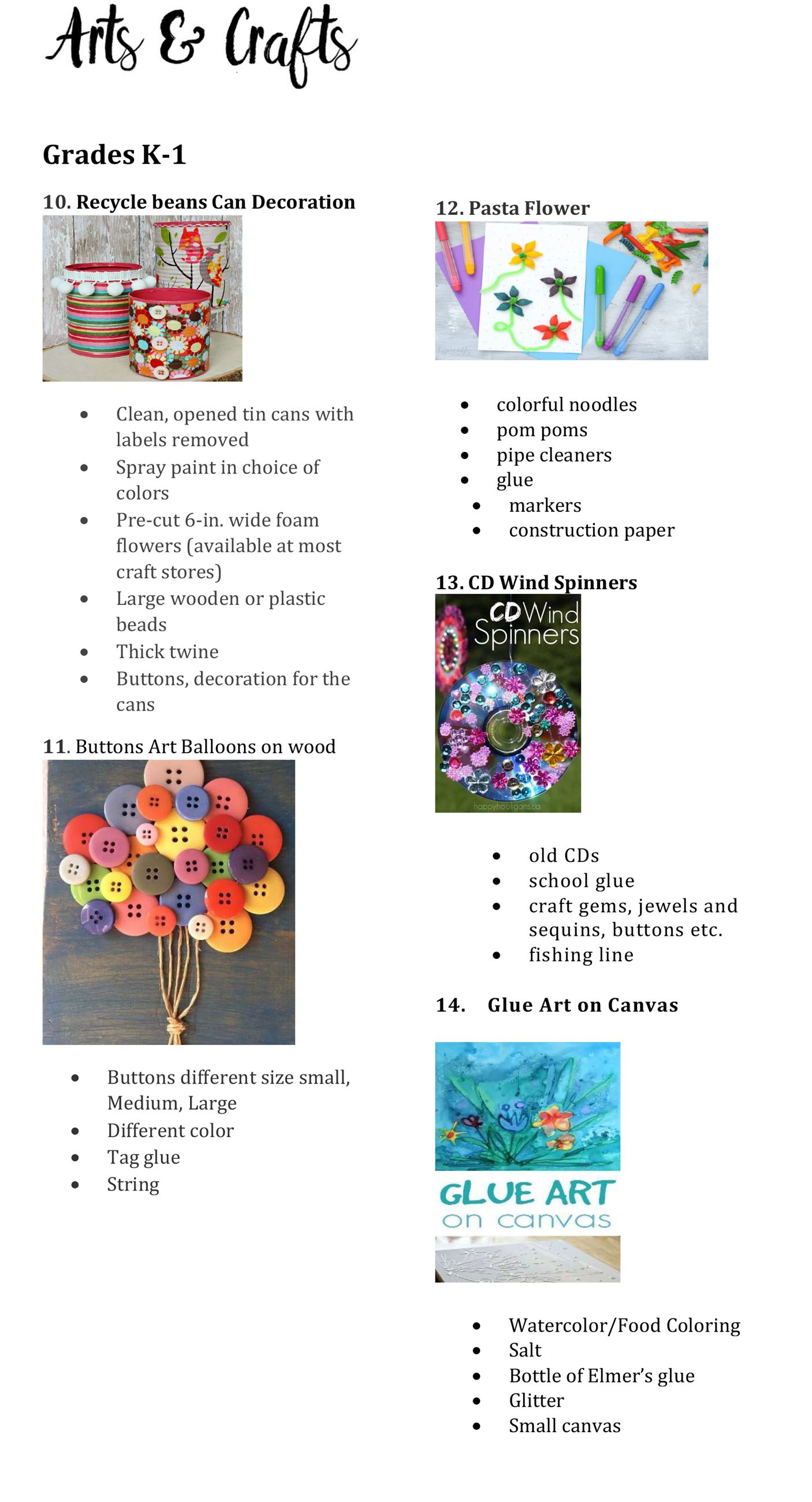 Arts and Crafts Supplies List K to 1 page 2