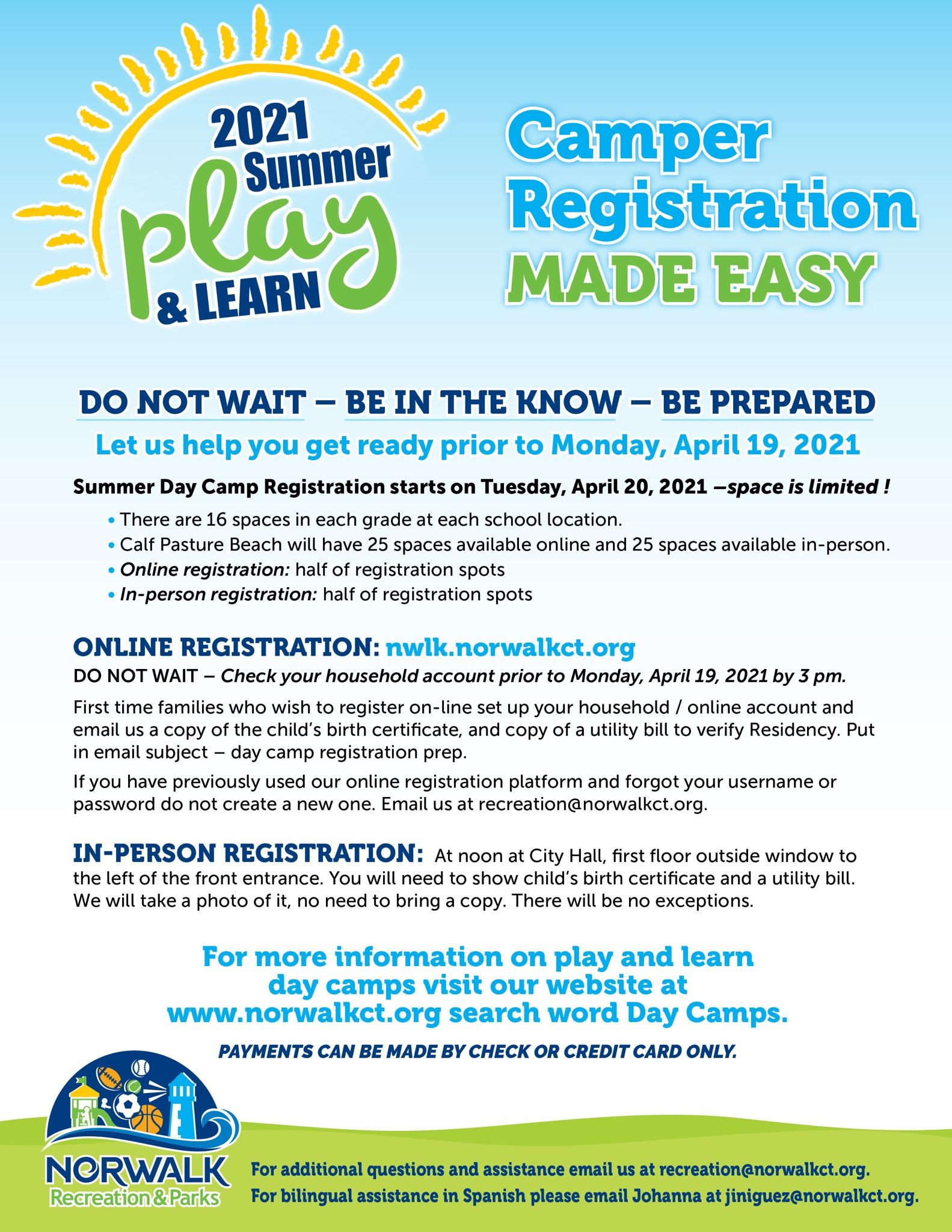 Play and Learn registration information