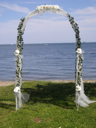 Wedding arch at Calf Pasture Beach