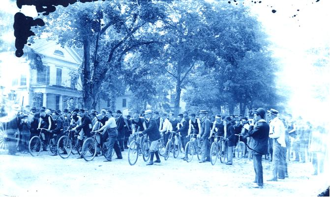 People at the start of a bike race