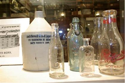 Bottles in a display case